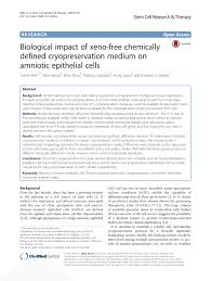 biological impact of xeno free chemically defined cryopreservation