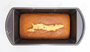homemade pound cake baked in an old fashioned bread tray or mold