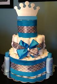 custom personalized 65 diaper cake little prince blue silver crown