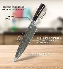 amazon com onitron pro kitchen 8 inch chef knife with high carbon amazon com onitron pro kitchen 8 inch chef knife with high carbon stainless steel and ergonomic handle kitchen dining