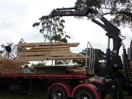 culburra hemp house timber frame arrived the crane on back of