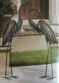 garden pond egret statue metal coastal bird indoor