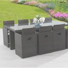 chaise tress e table et chaise de jardin en resine tressee 8 places table exterieur