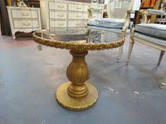 vintage pedestal side table sold vintage antique pair of gold leaf pedestal side table c 1950