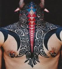 amazing black ink tribal tattoos on chest and neck