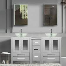 small kitchen sink and cabinet combo 60 bathroom vanity gray clear tempered glass vessel sink