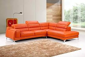 Orange Leather Sofa Cleveland Orange Leather Chaise With Adjustable Head Rest In Right