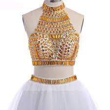 shop discount a line illusion high neck gold crop top white tulle