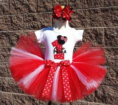 girls minnie mouse silhouette red and white dots quick ship tutu set