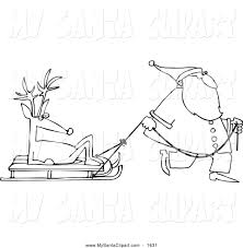 christmas clip art of a black and white santa pulling a reindeer