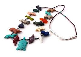 multi colored necklace images Hand carved single strand turtle multicolored mixed fetish jpg