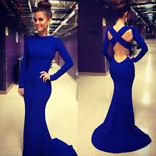 crisscross back evening dresses with sweep train long sleeve high