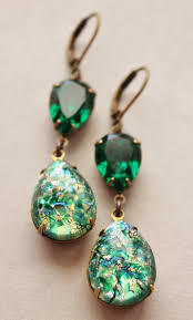 green opal earrings vintage emerald opal earringsemerald green glass fire