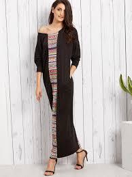 sleeve maxi dress tribal print dolman sleeve maxi dress shein sheinside