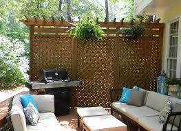attractive foldable wicker wooden privacy screen design with pots