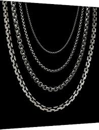 titanium chain link necklace images Box link titanium chains and necklaces for men and women jpg