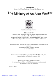 the ministry of an altar worker by jackie howard issuu