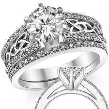 celtic rings wedding images Moissanite diamond celtic style wedding set jpg