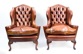 Wing Back Armchairs Antique Pair English Leather Wingback Armchairs C 1900