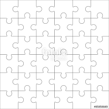 25 jigsaw puzzle blank template or cutting guidelines stockblank