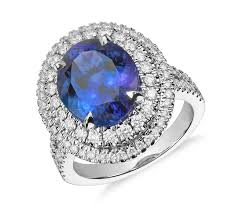 rings with tanzanite images Oval tanzanite and diamond double halo ring in 18k white gold