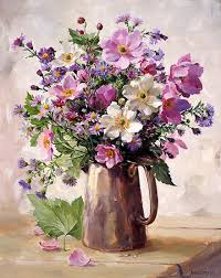 Japanese Flowers Paintings - japanese anemones in a silver jug blank card by anne cotterill