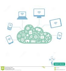 smart devices connected wireless to cloud service stock image