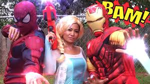 kid heroes 32 frozen elsa spiderman and iron man vs ariel with