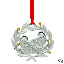 two turtle doves with gems metal ornament by lenox