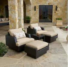 Patio Chairs With Ottoman Wicker Chair Table Ottoman Outdoor Set Patio Porch Deck Outdoor