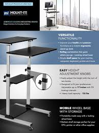 rolling stand up desk amazon com mount it mobile stand up desk height adjustable