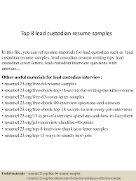 Sample Custodian Resume by Custodian Resume Virtren Com