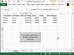 copy data paste another workbook transpose automatically using