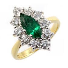emerald rings uk 18ct yellow gold marquise emerald diamond cluster ring