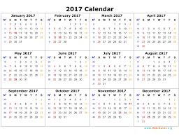 2017 Annual Calendar Template