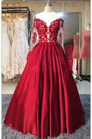 red long sleeves lace satin off the shoulder prom dresses party