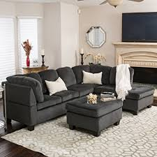 amazon com gotham 3 piece charcoal fabric sectional sofa set