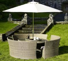 stunning outdoor patio sets with umbrella above glass round table