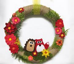 burlap and felt flower wreath hedgehog and fox wreath felt