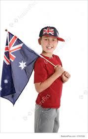 Aussie Flag Patriotic Child Holding An Aussie Flag Stock Photograph I1107039