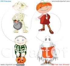 halloween kids cartoons cartoon of halloween kids in mummy jack skeleton and ghost
