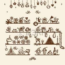 christmas shop sketch drawing for your design royalty free