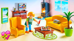 Living Room With Fireplace by Playmobil Dollhouse Living Room With Fireplace Youtube