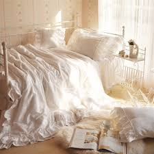 Ruffle Bedding Set Luxury Embroidered Bedding Set Kingqueen Size Tulle Ruffle Lace