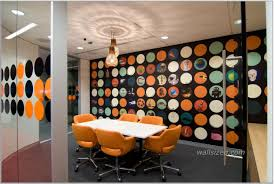 creative office design with rectangular white table orange chairs