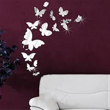 popular wallpaper mirror butterfly buy cheap wallpaper mirror 14pcs diy 3d wall sticker acrylic butterfly decal sticker silvery mirror wall stickers bedroom decoration paster
