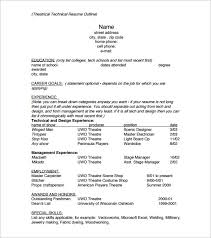 Example Technical Resume by Resume Outline Template U2013 13 Free Sample Example Format