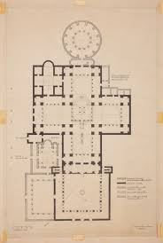 half ground plan of the main church and elevation of central and preparatory ground plan of the holy apostles complex