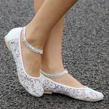 wedding shoes flats ivory the anklets wedding ballet flat shoes with ivory lace