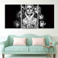 2017 3 panel prints canvas art day of the dead sugar skull face